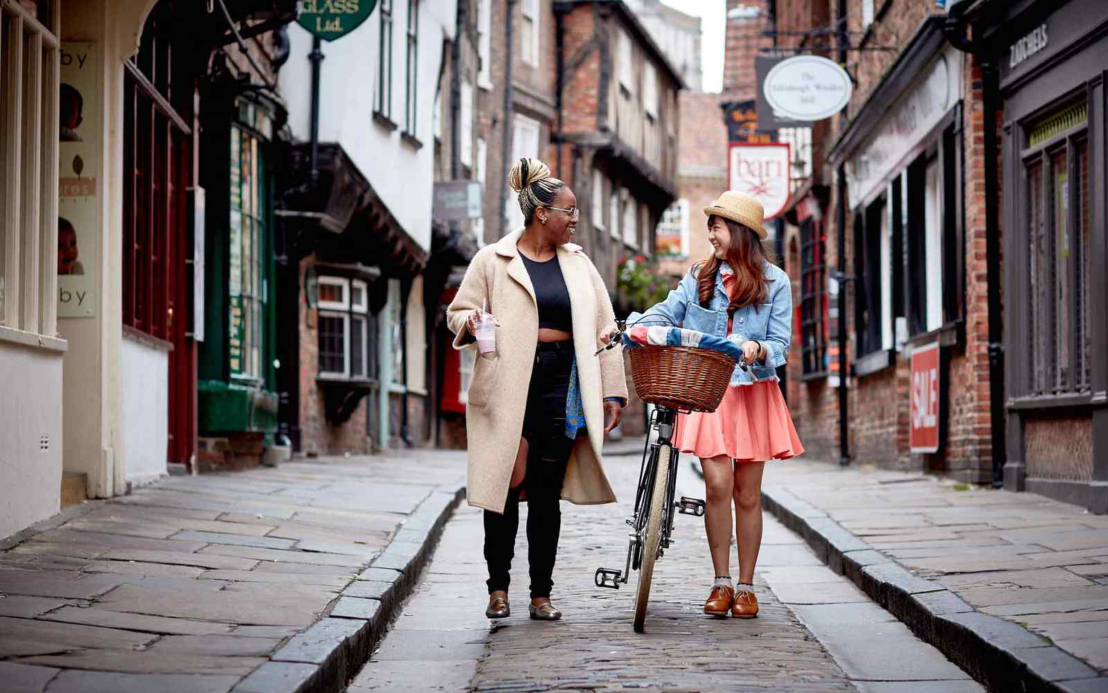 students in york walking down the shambles