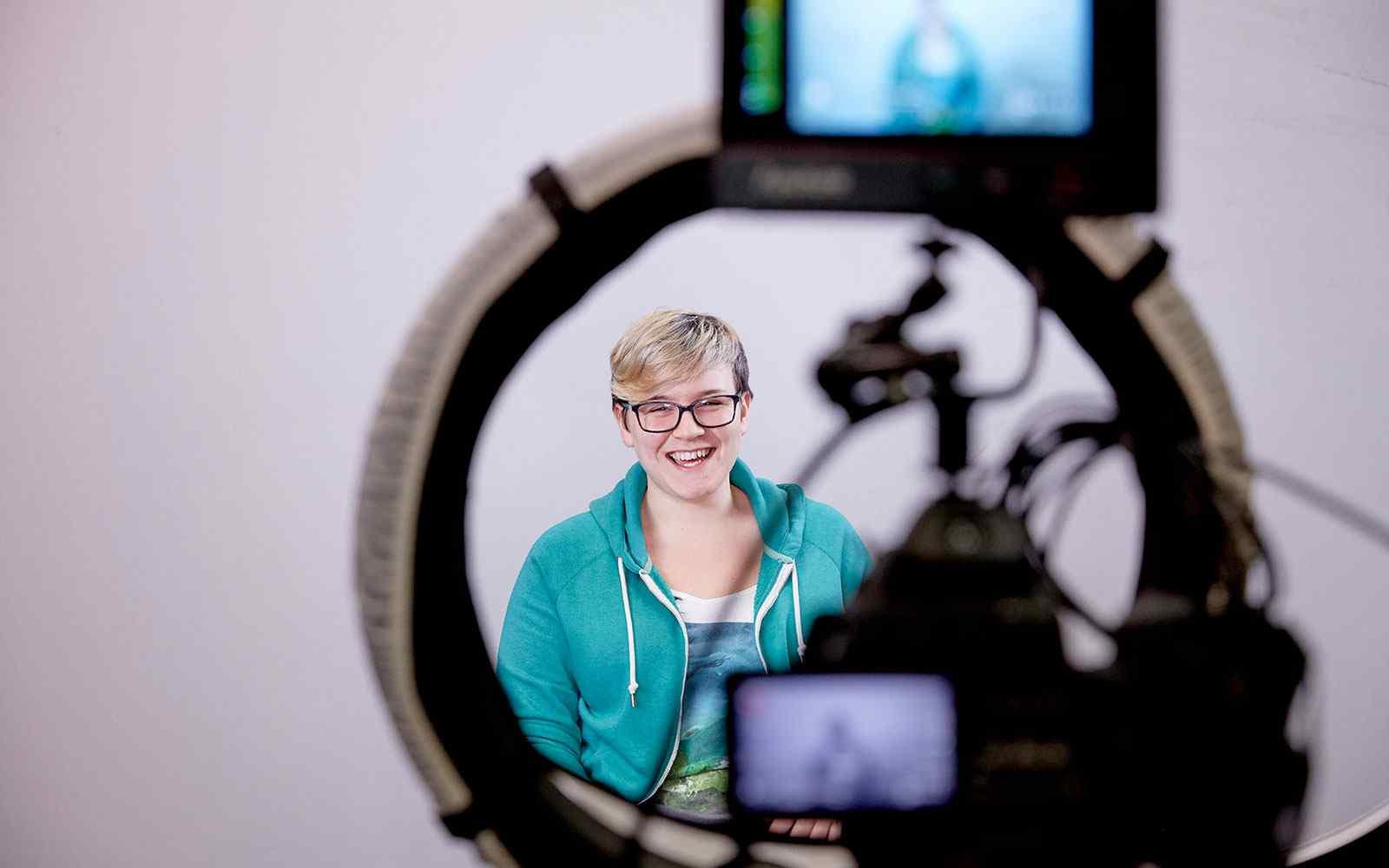 Media Production student being filmed