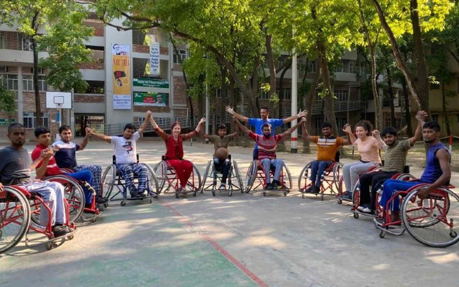 Physiotherapy students with rehabilitation centre Wheelchair Basketball team
