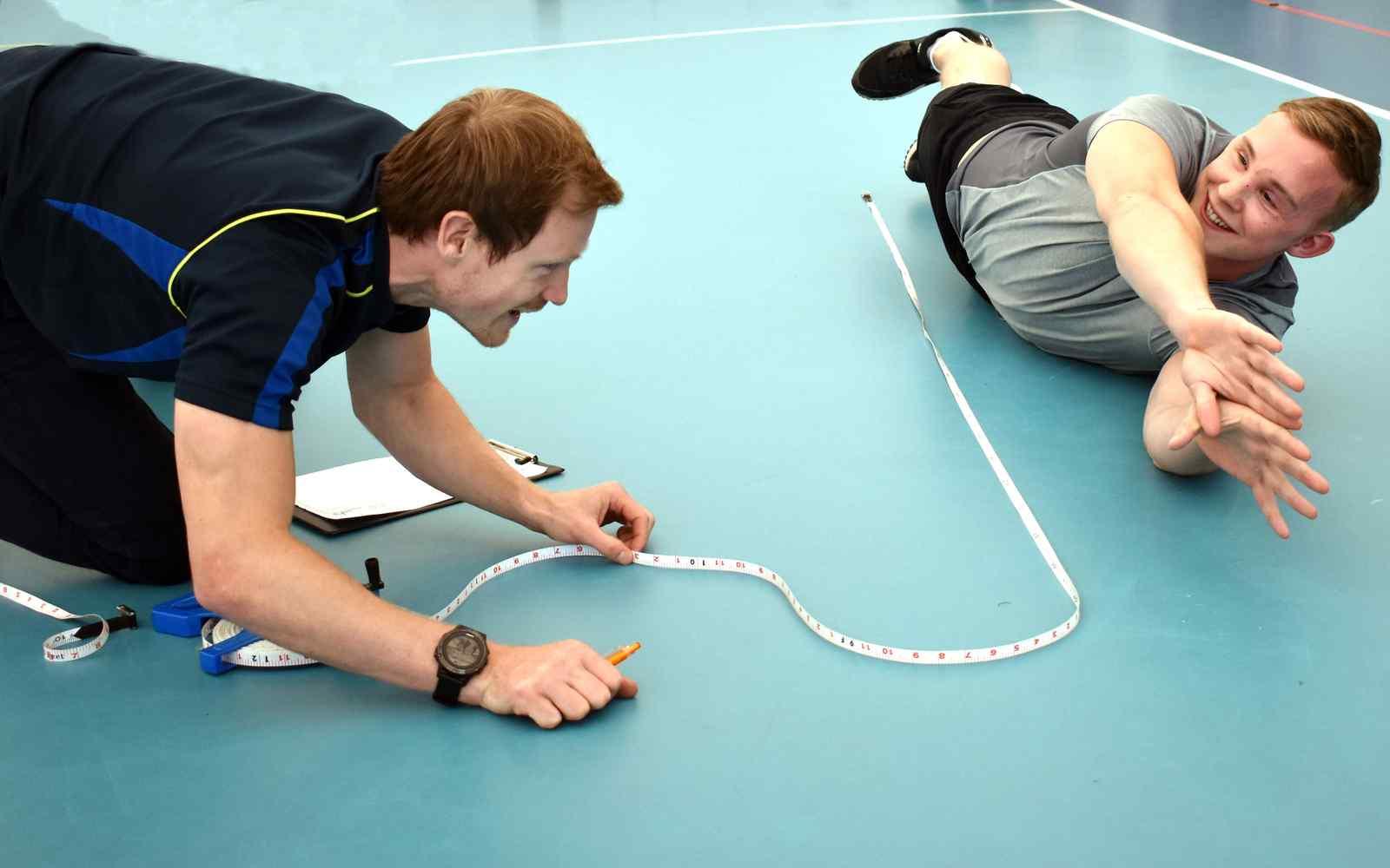 Para-athlete Josh McEntee undergoing fitness testing at YSJ