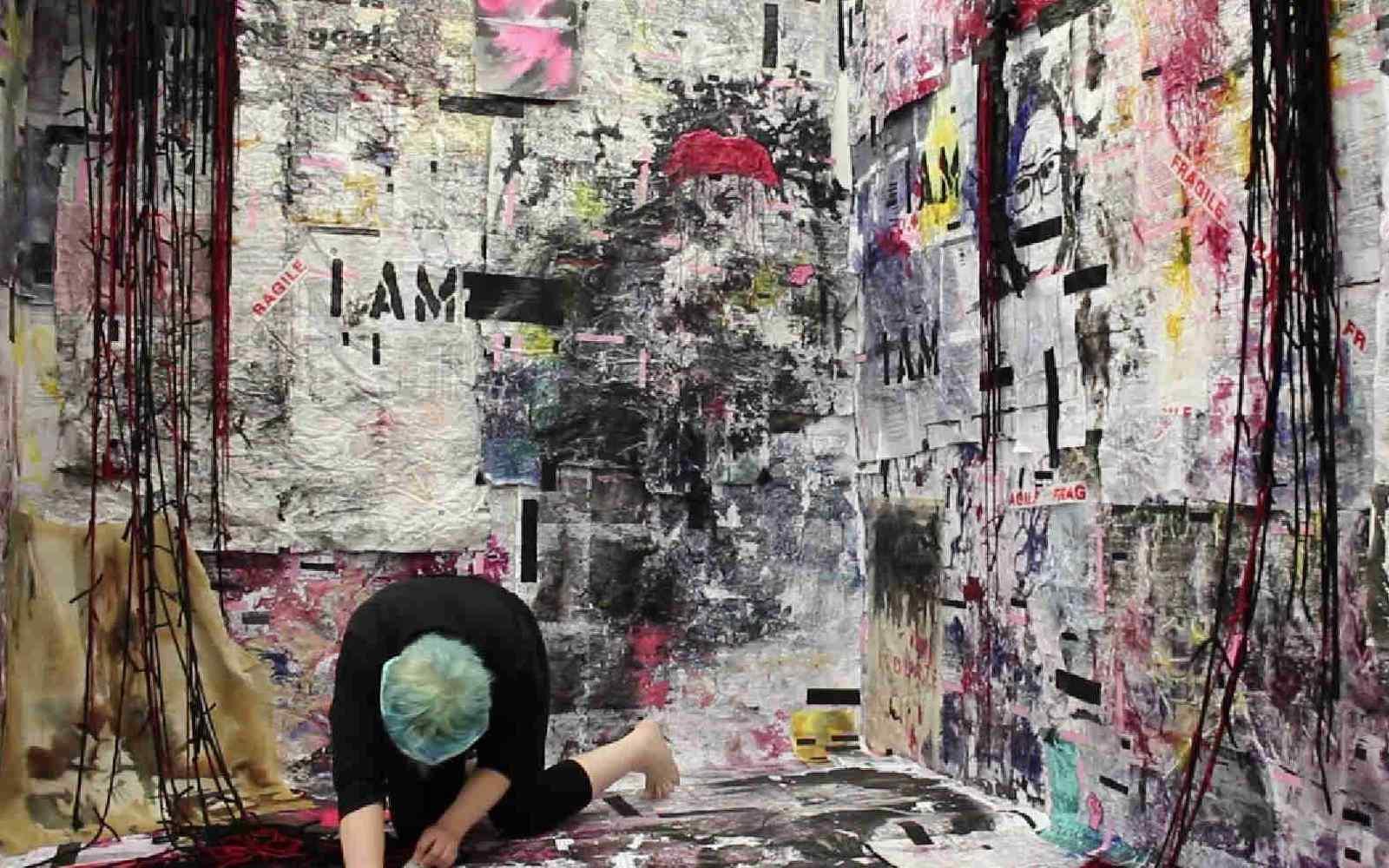 Kerry Fox working on her Fine Art MA show