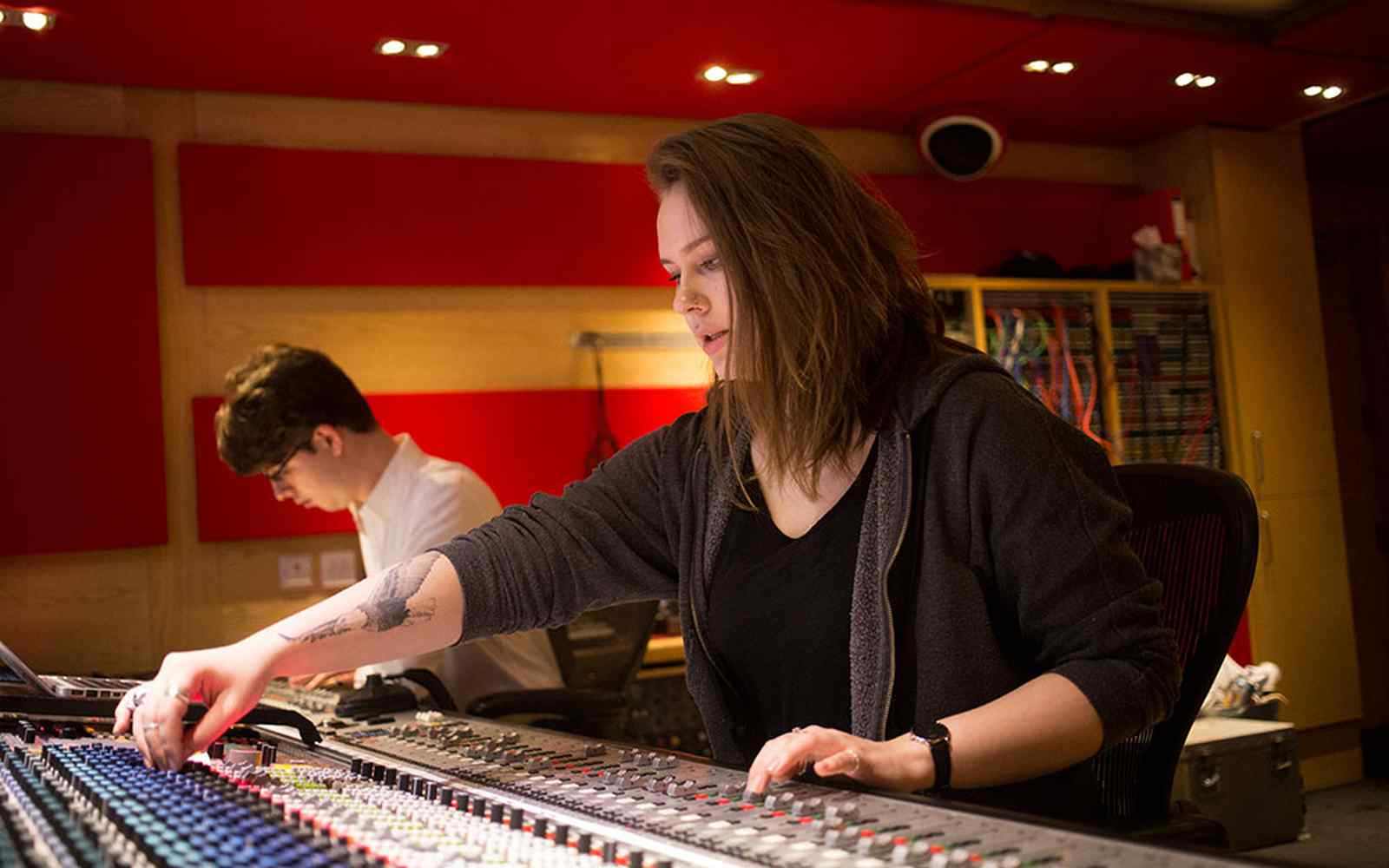 Students helping to mix an album at Abbey Road Studios