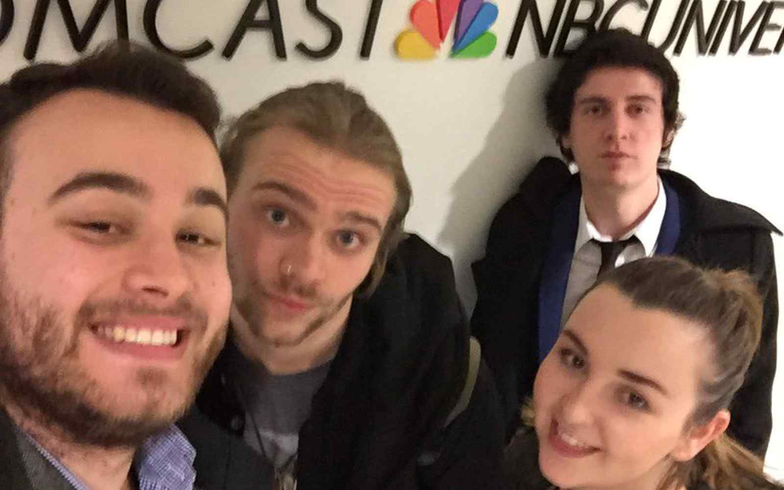 Liam Taylor-Rutterford, Kyle Bell and Beth Sigsworth at NBC Universal