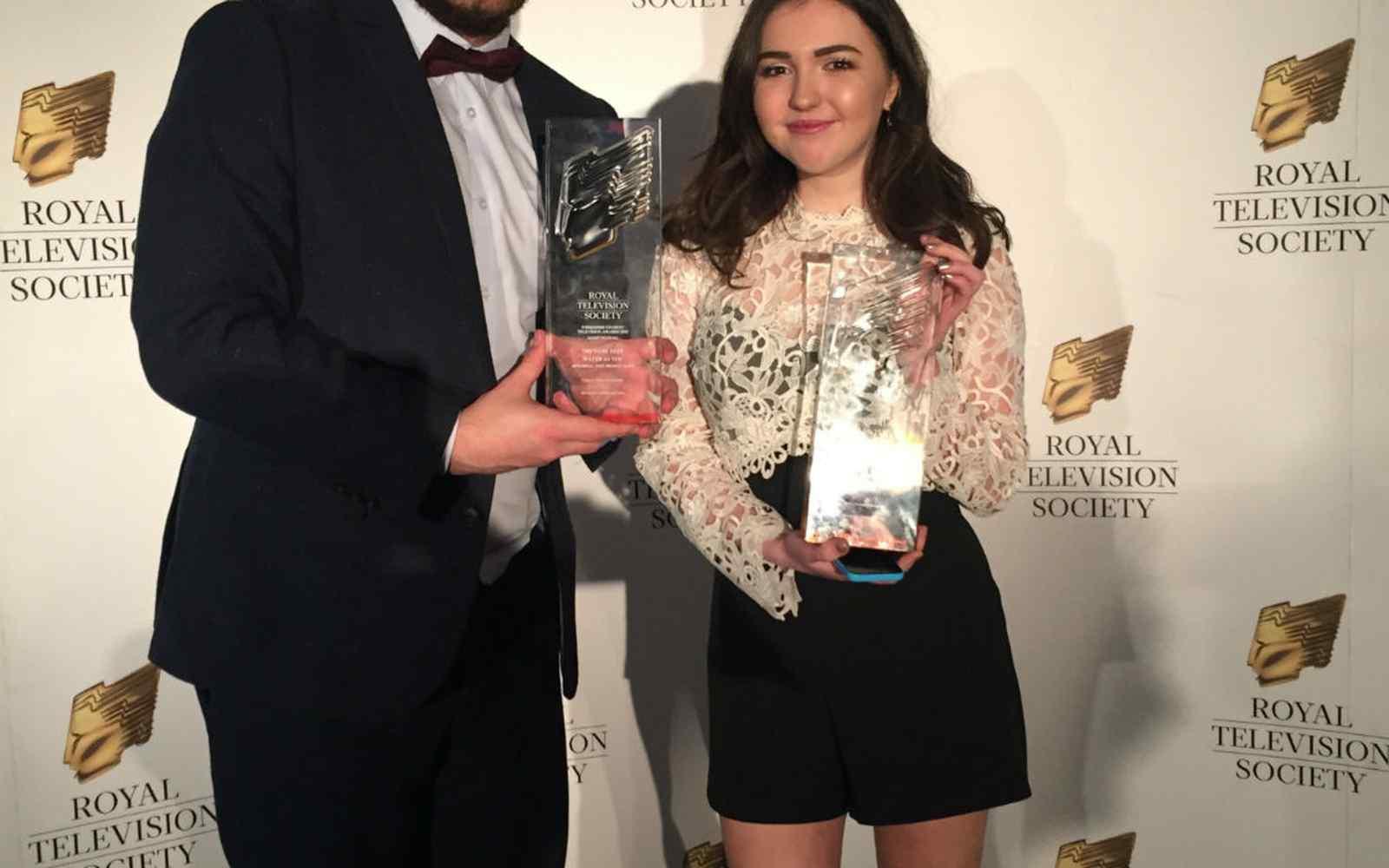 York St John winners, Liam and Abbie
