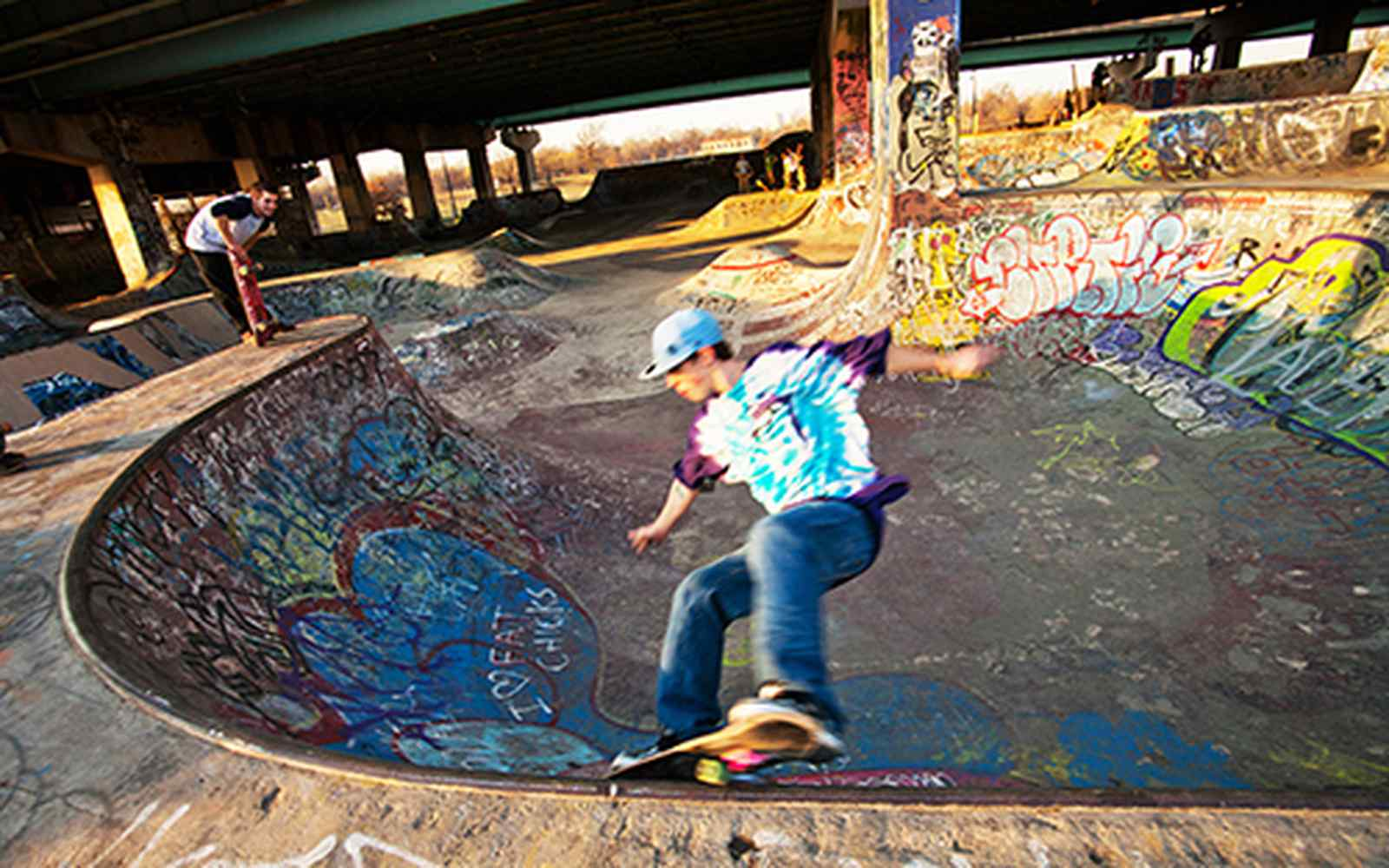 Skateboarders in Philadelphia's FDR Skatepark