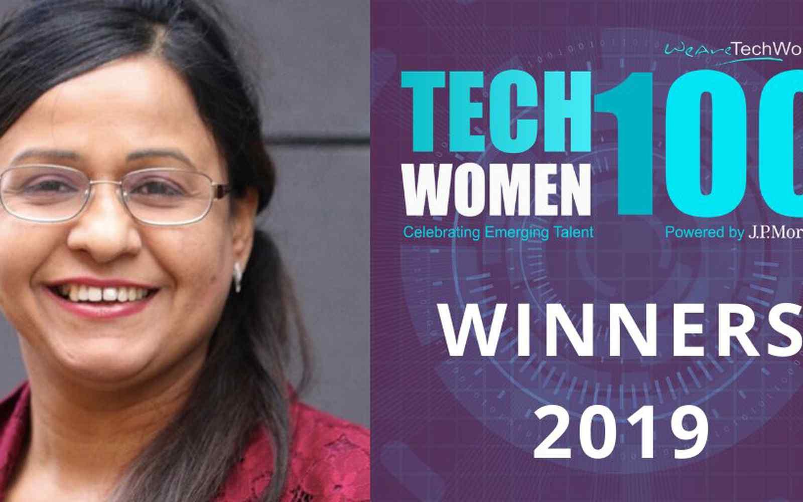 A portrait of Dr Kulvinder Panesar with Tech Women 100 branding