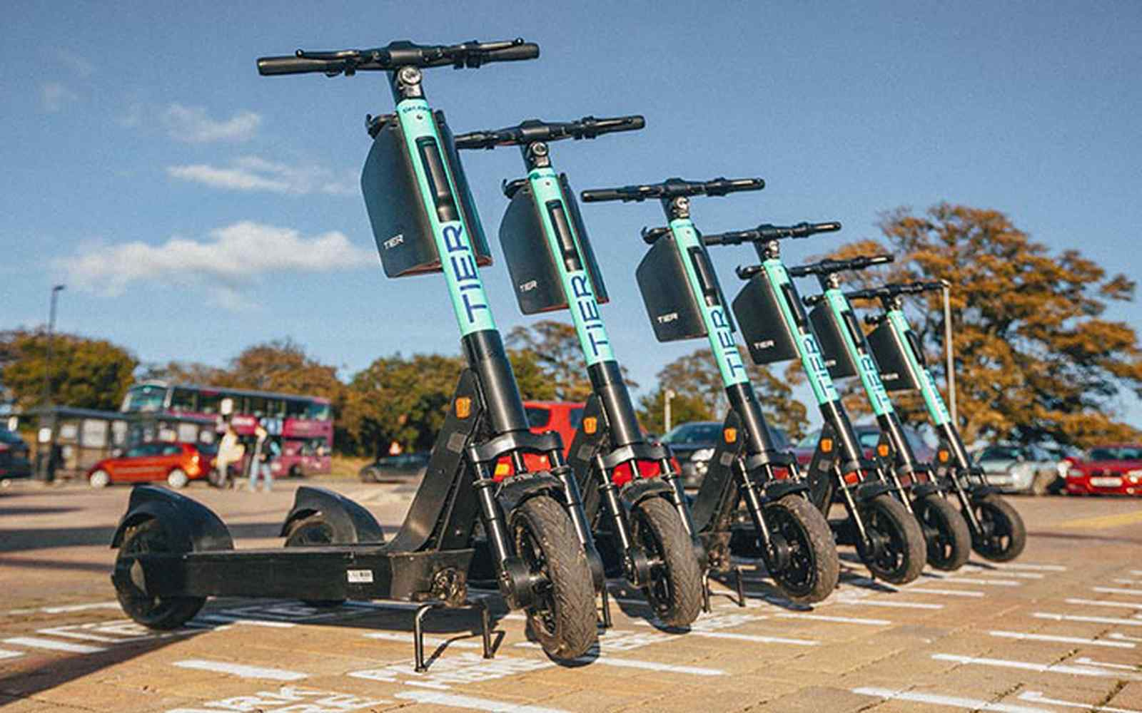 E-scooters lined up in a street
