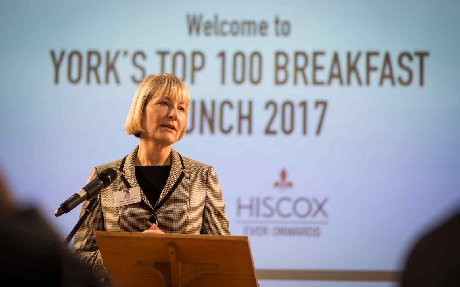 Prof Karen Stanton VC YSJU at York Top 100 Businesses