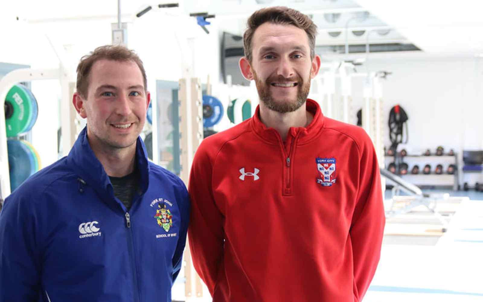 Jamie Salter from York St John next to Chris Pegg from York City FC
