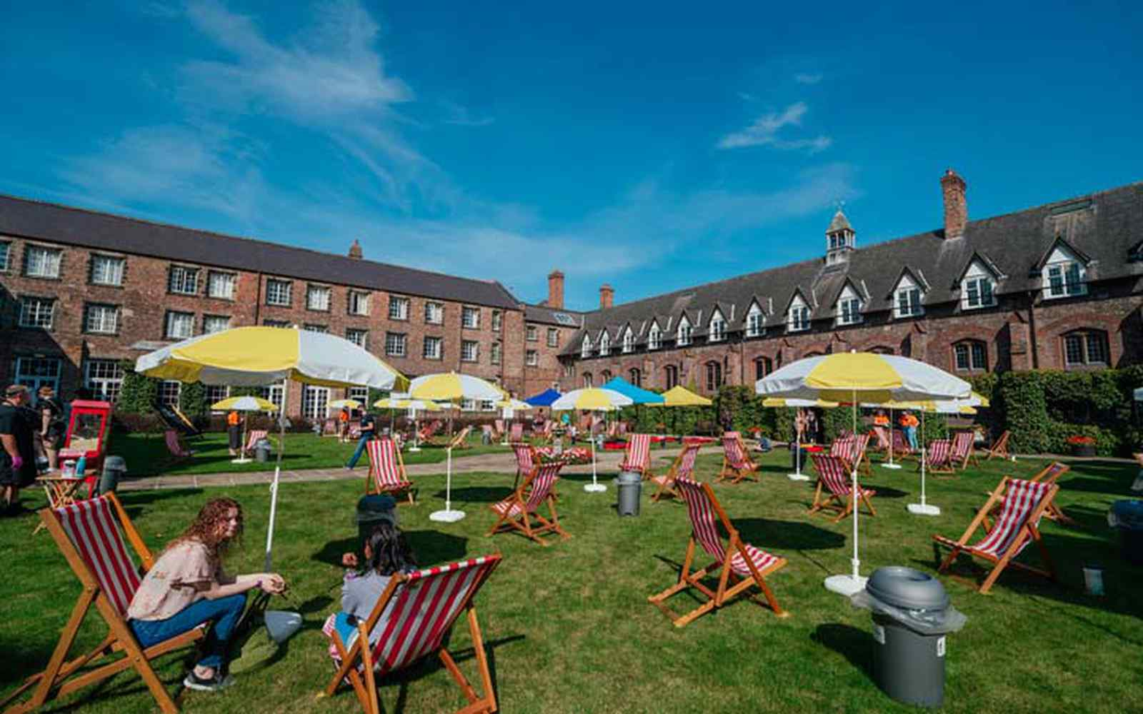 deckchairs and parasols in the quad