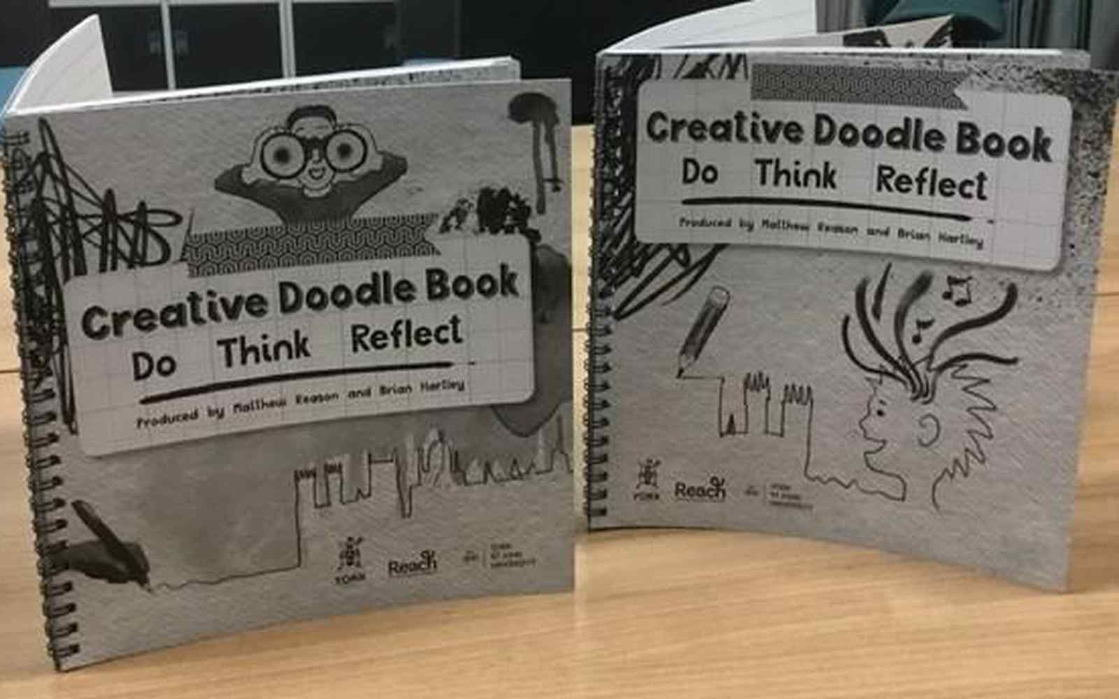 front cover of two creative doodle books for children