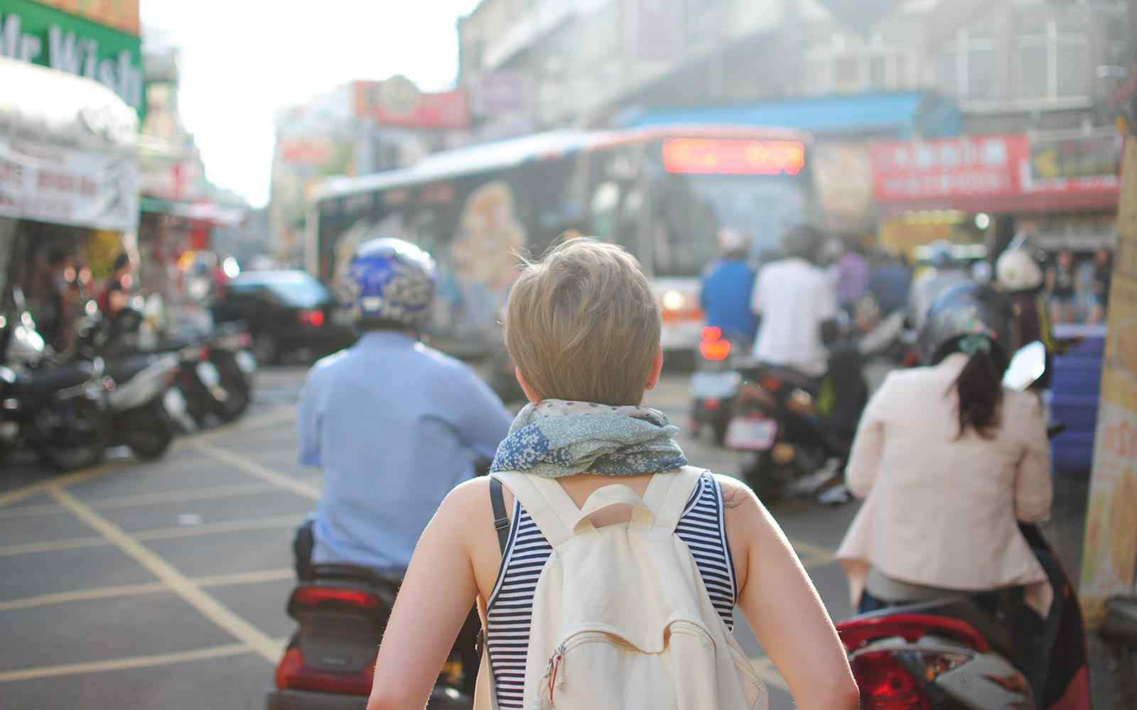 Girl backpacking in Korea