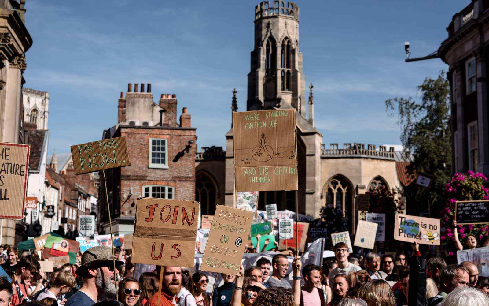 Protesters with signs in the centre of York