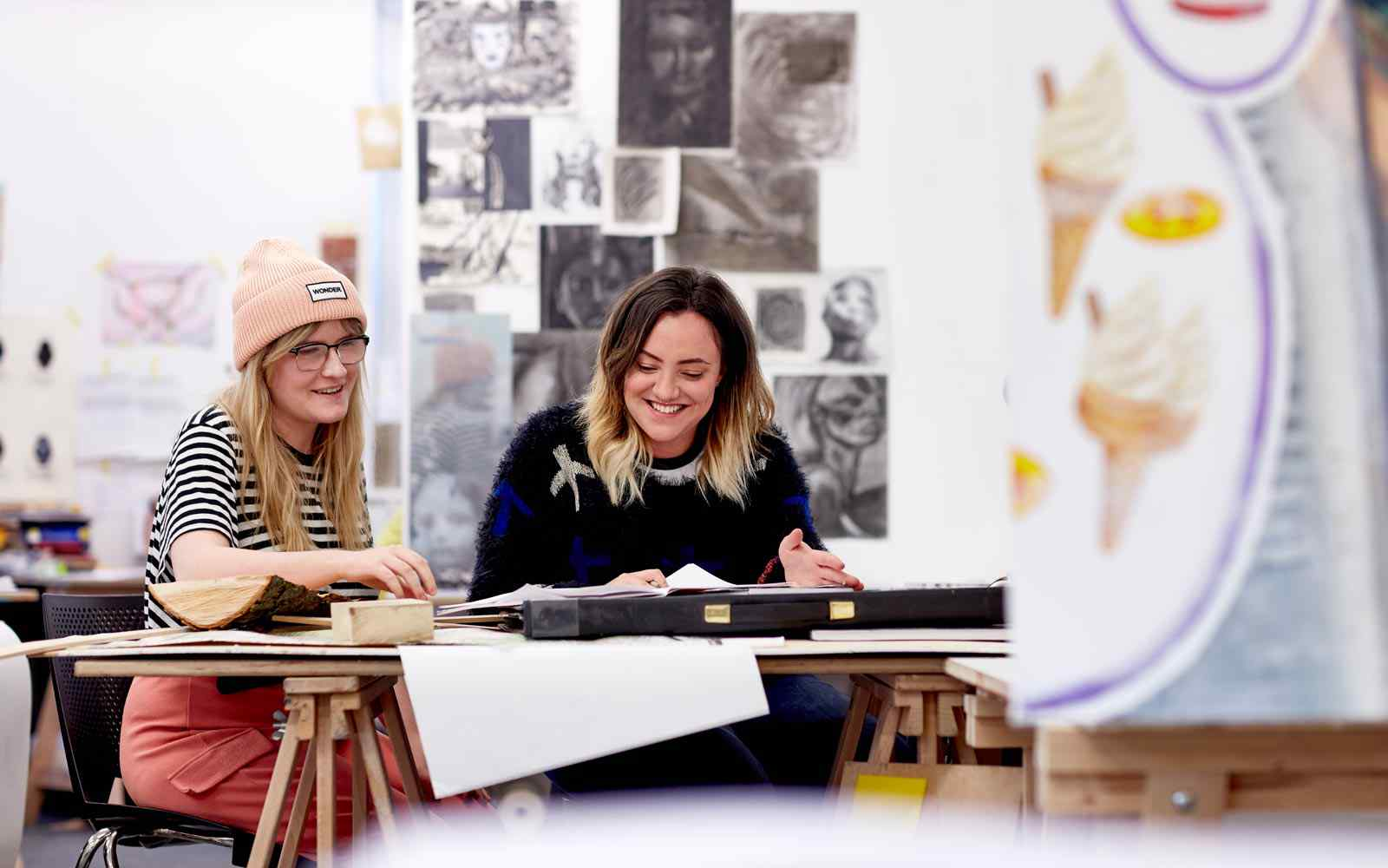 Students taking life drawing classes