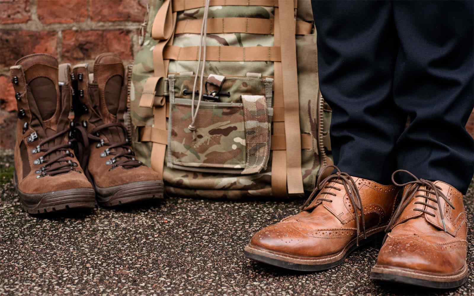 Man's shoes next to a bag