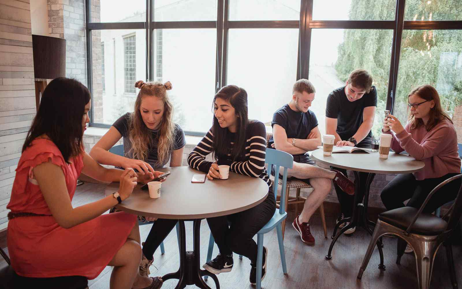 Group of students studying in the su
