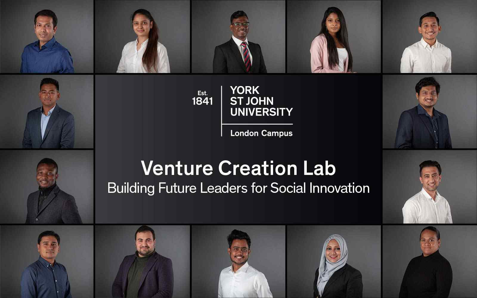 Collage of student headshots. Text reads: Venture Creation Lab; Building Future Leaders for Social Innovation