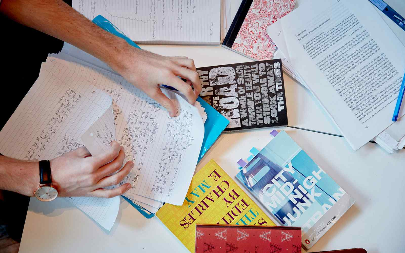Collection of study notes on a table