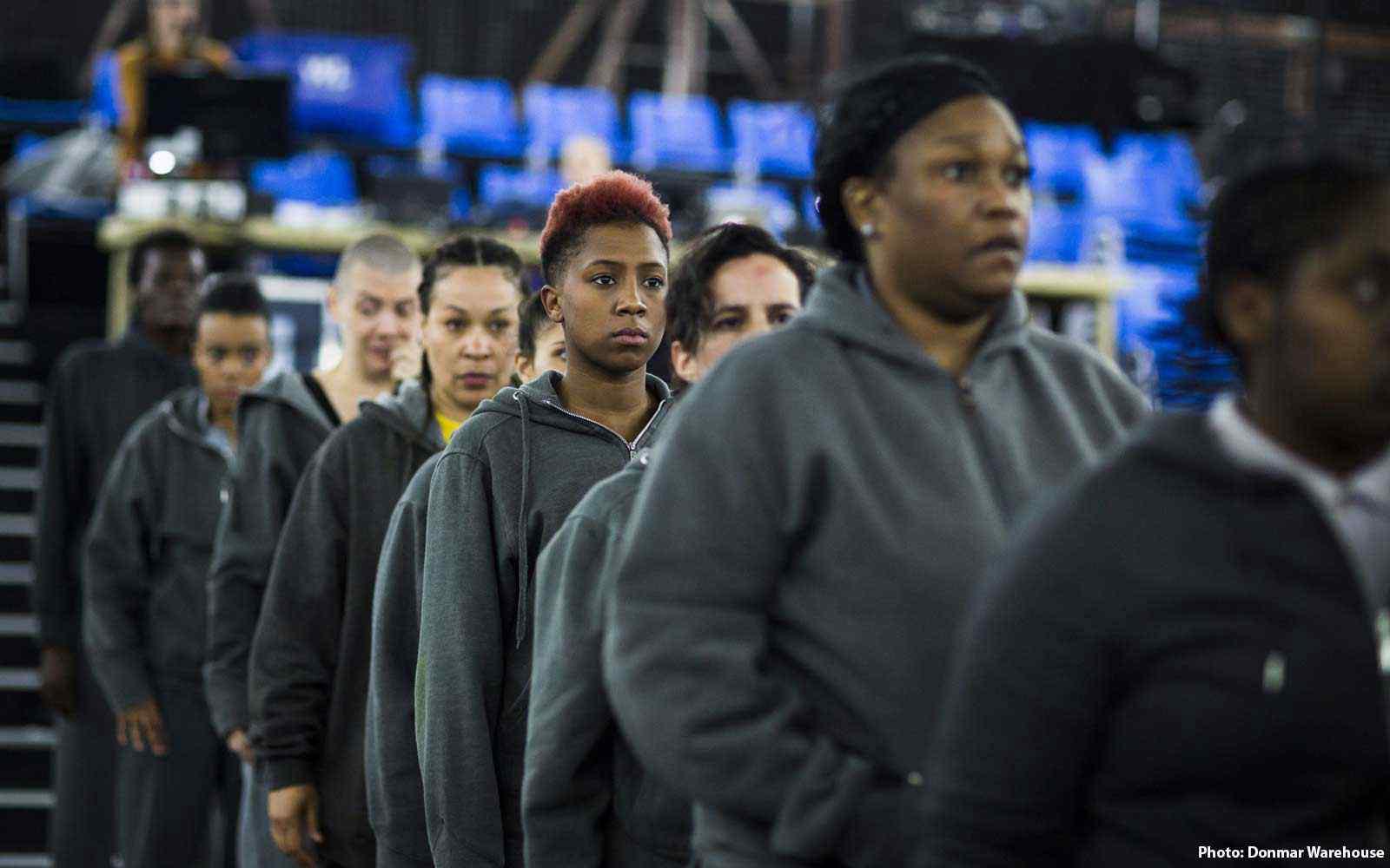 Actors in prison setting, queuing