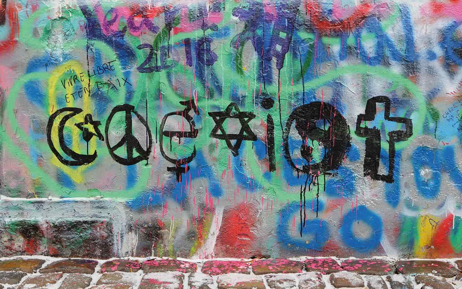 Religious symbols on a graffiti background
