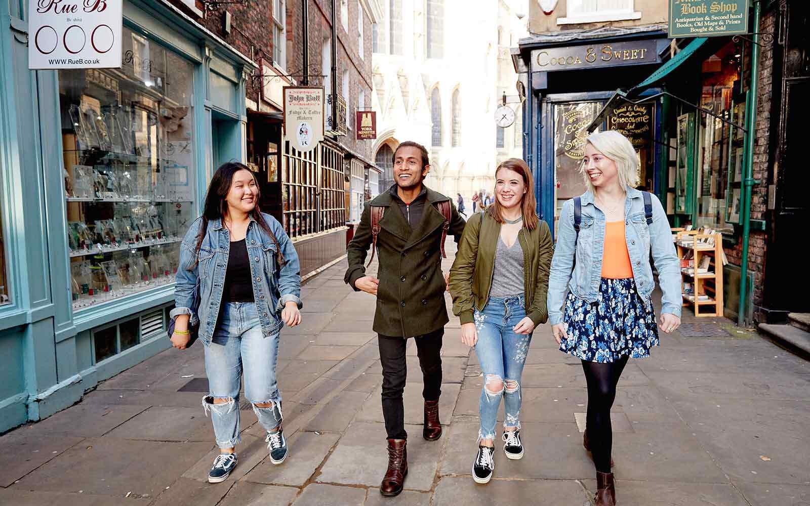 Students walking through York