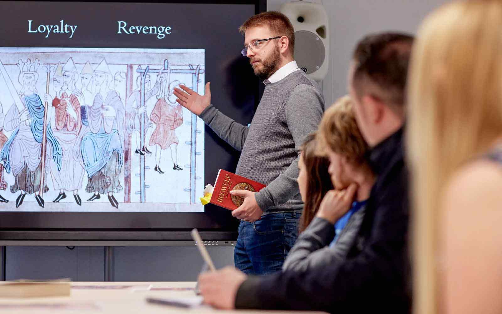 Student giving presentation in history seminar