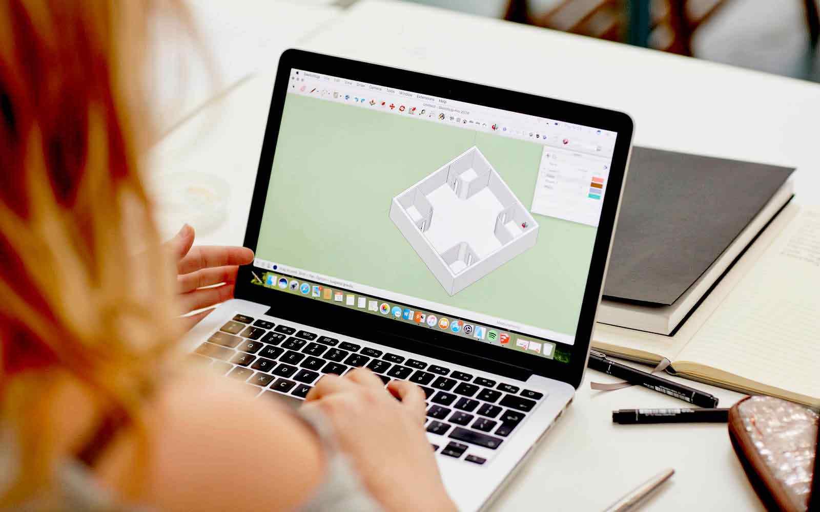 Student using interior design software