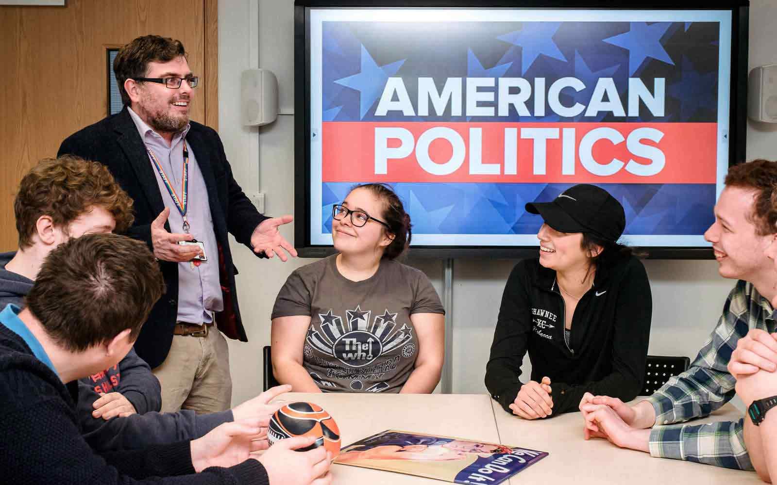 Students discussing american politics in seminar