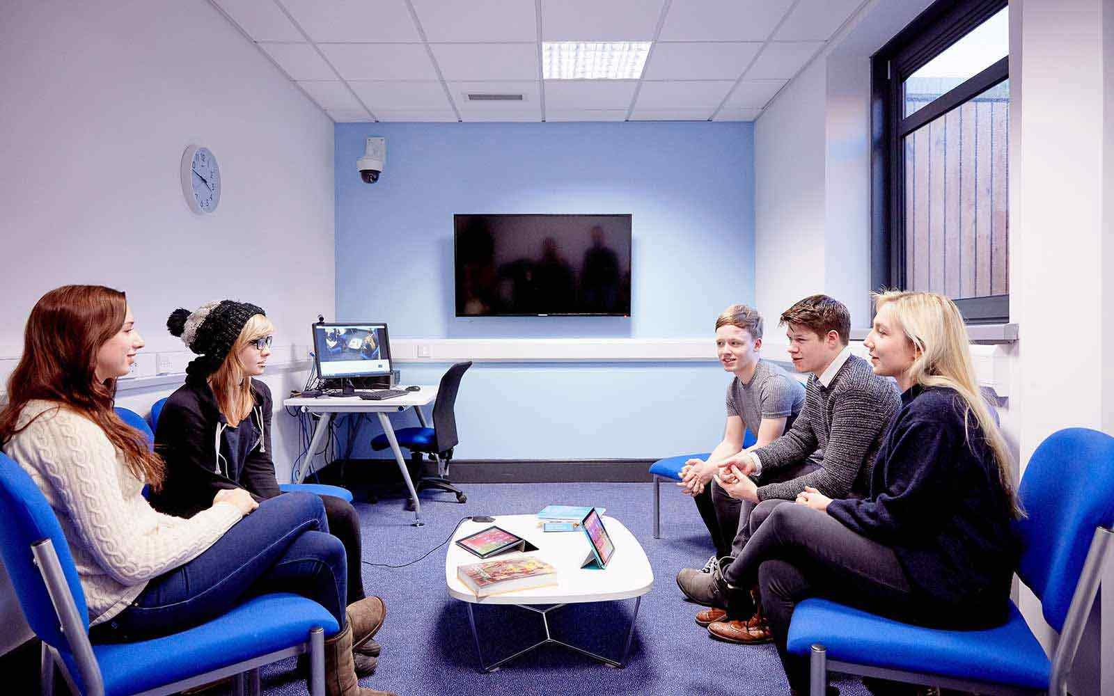 students in the counselling listening room