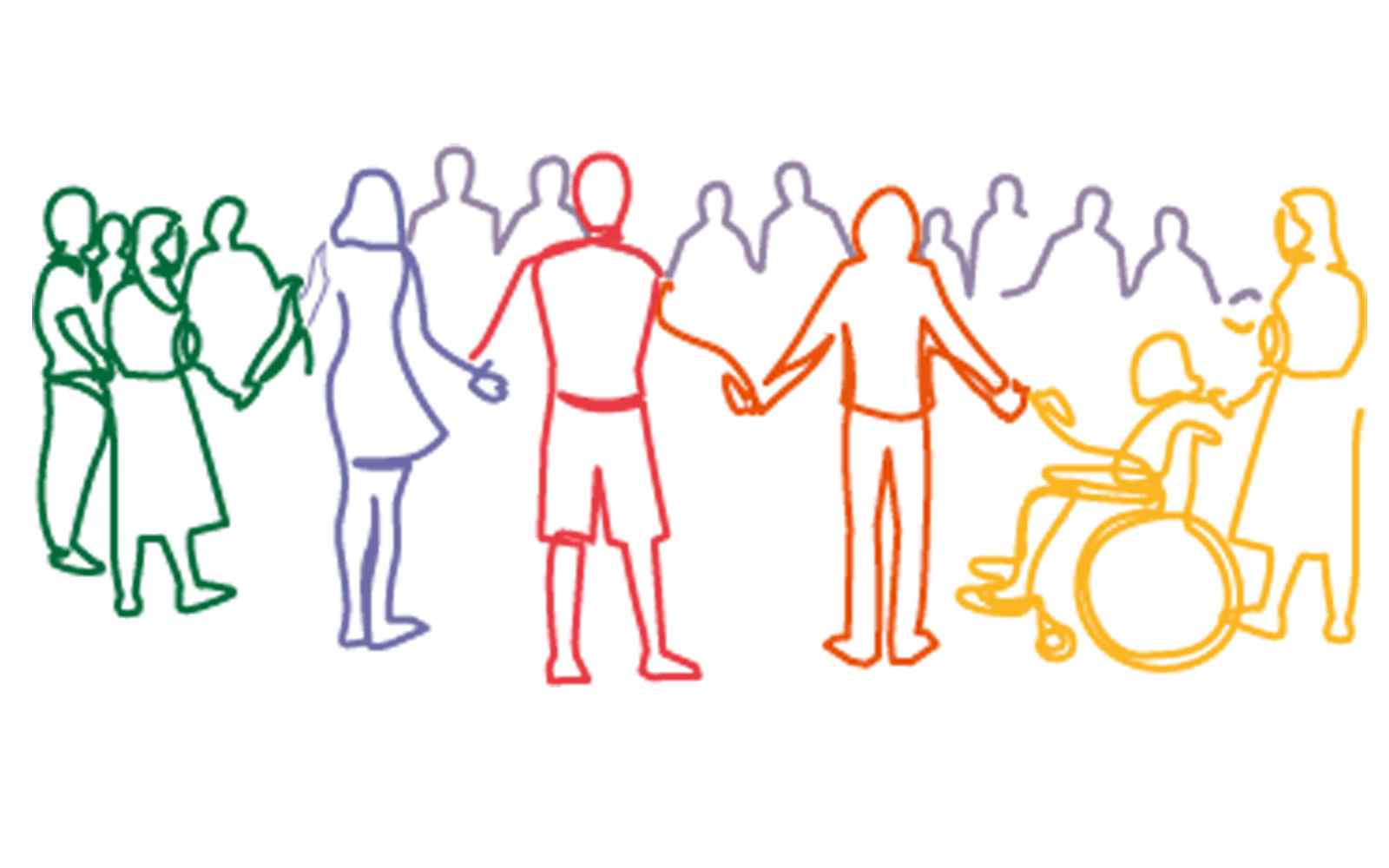 Line drawing of people in circle holding hands