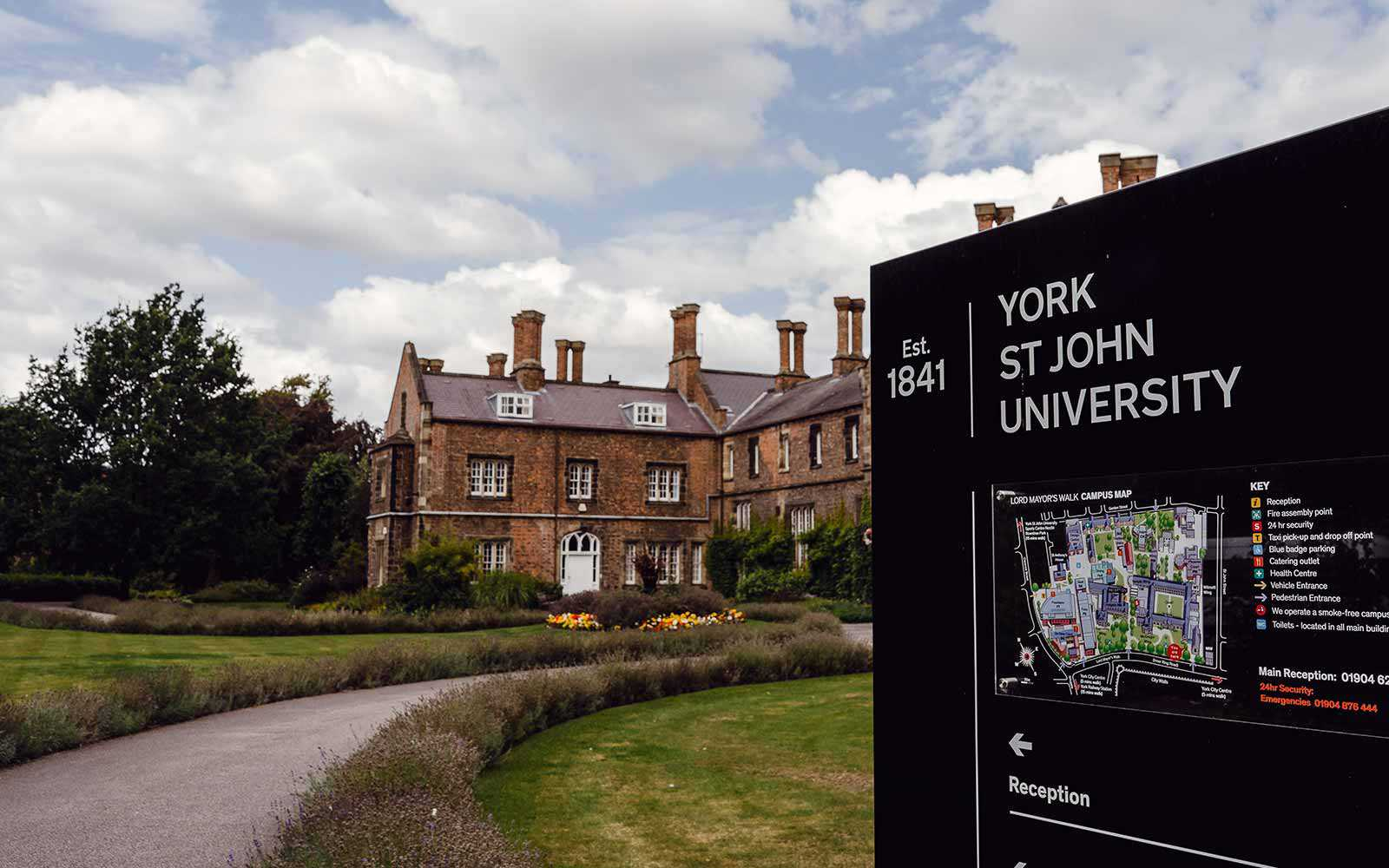 Lord Mayors Walk campus sign