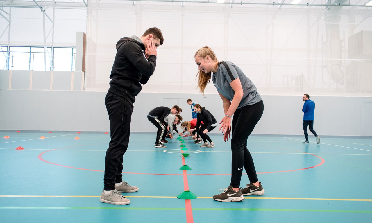 Students taking part in sport activities at Haxby Road Sports Hall