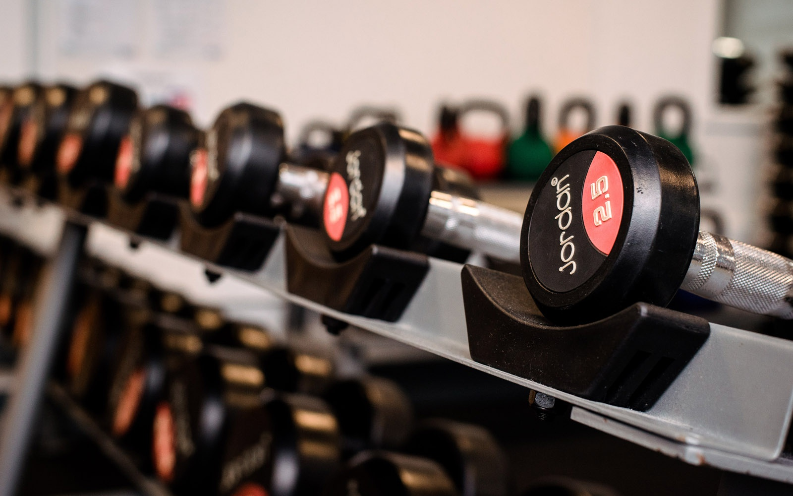 Weights on rack in fitness suite