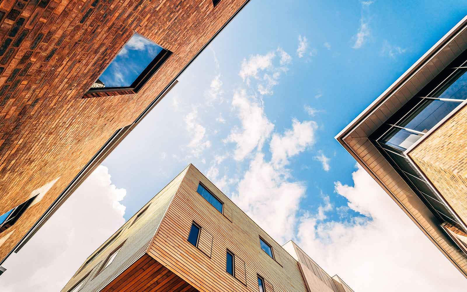 Campus buildings with blue skies