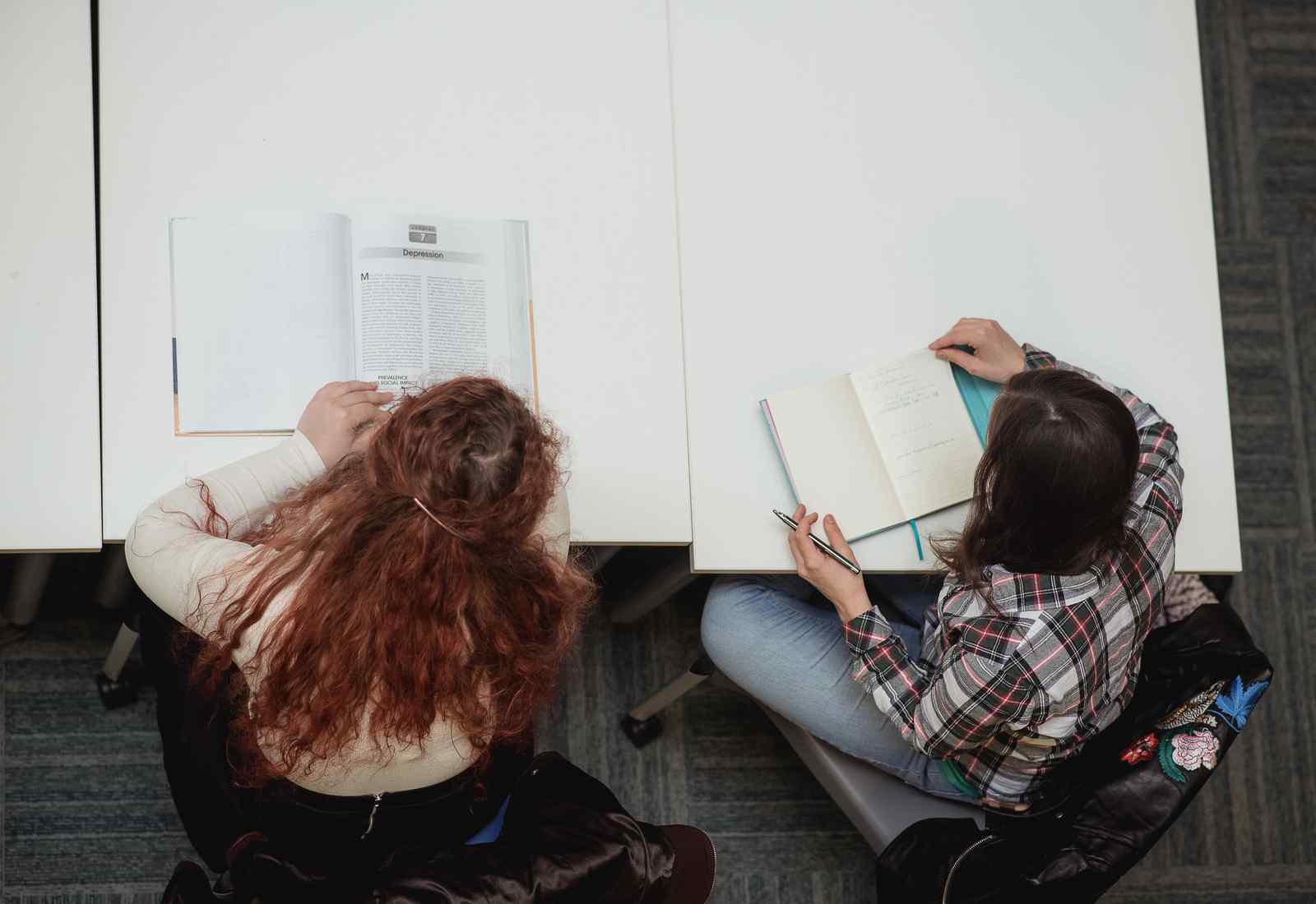 2 female students working at a desk