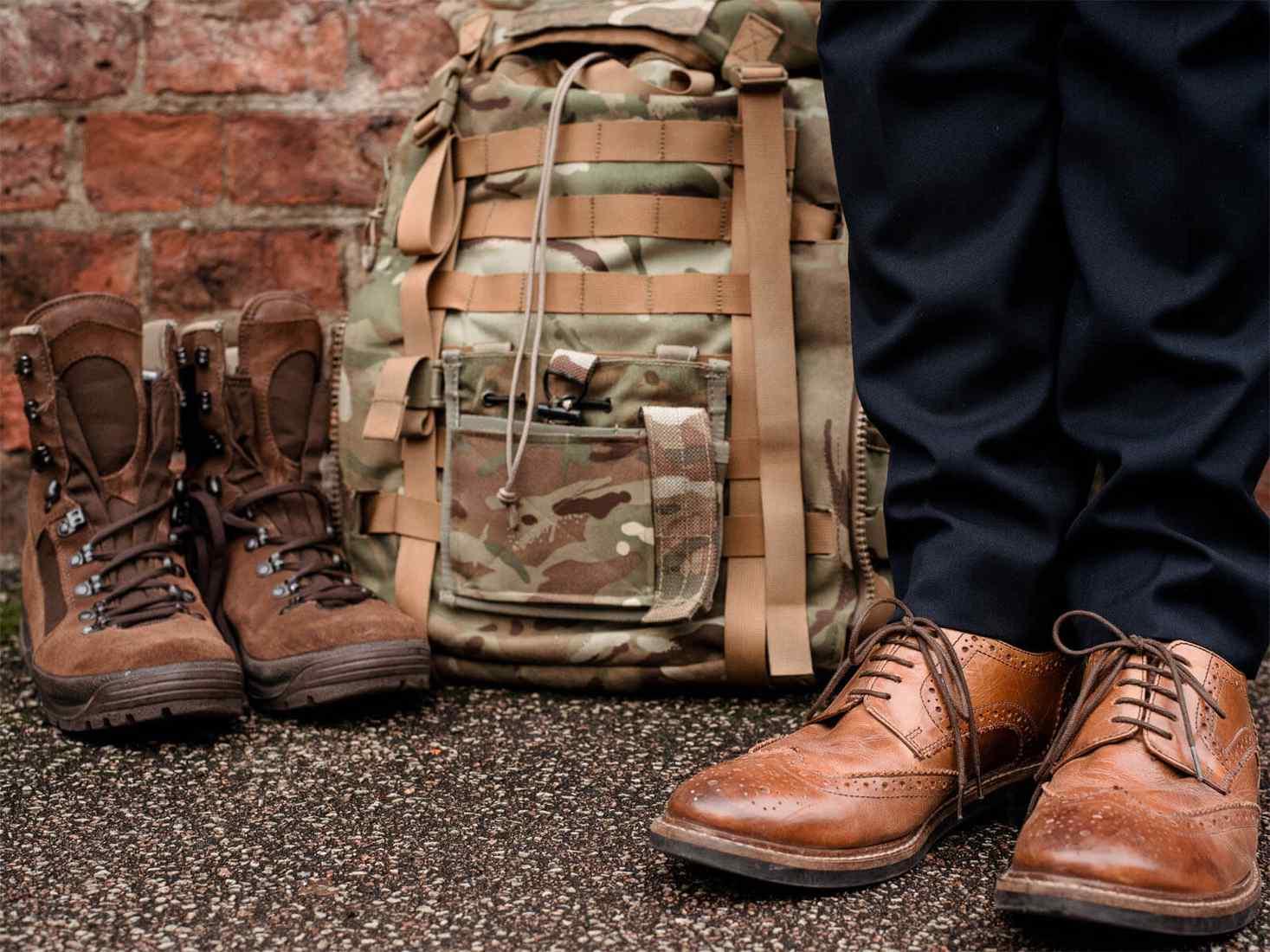 Man's shoes next to bag