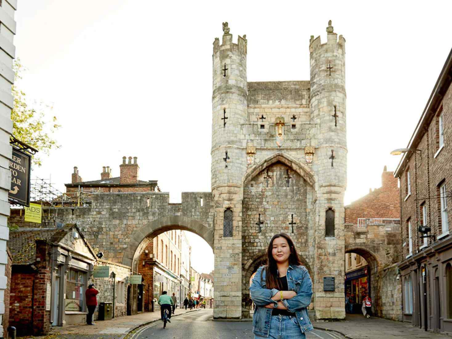 Student standing in York city centre