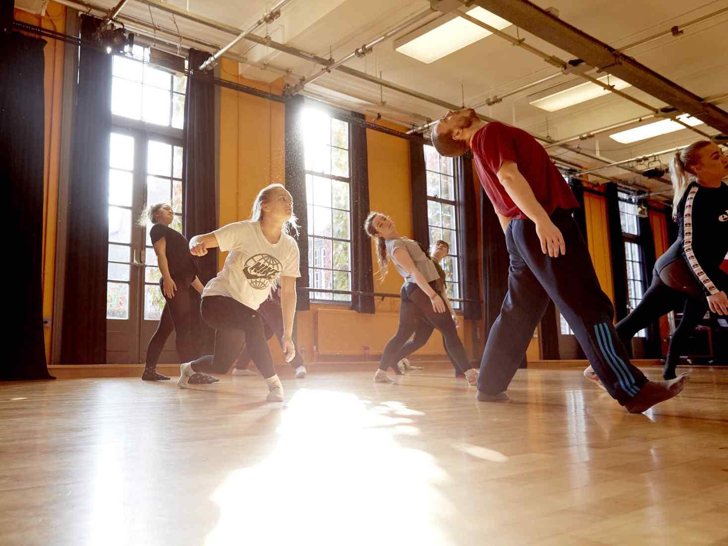 Students dancing in studio