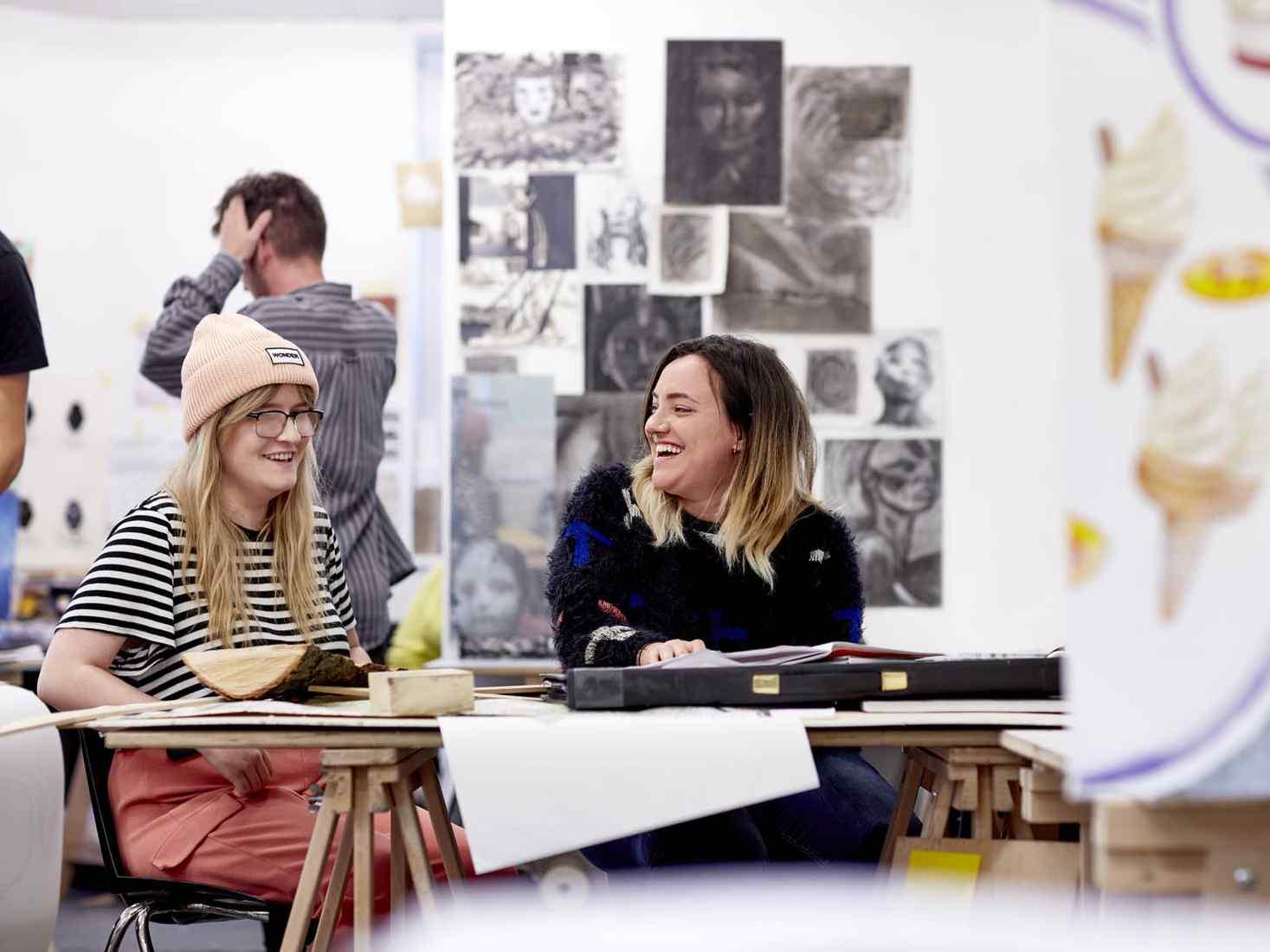 Art students working in studio