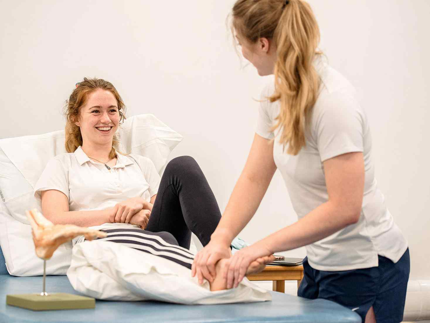 Students doing practical work on the foot