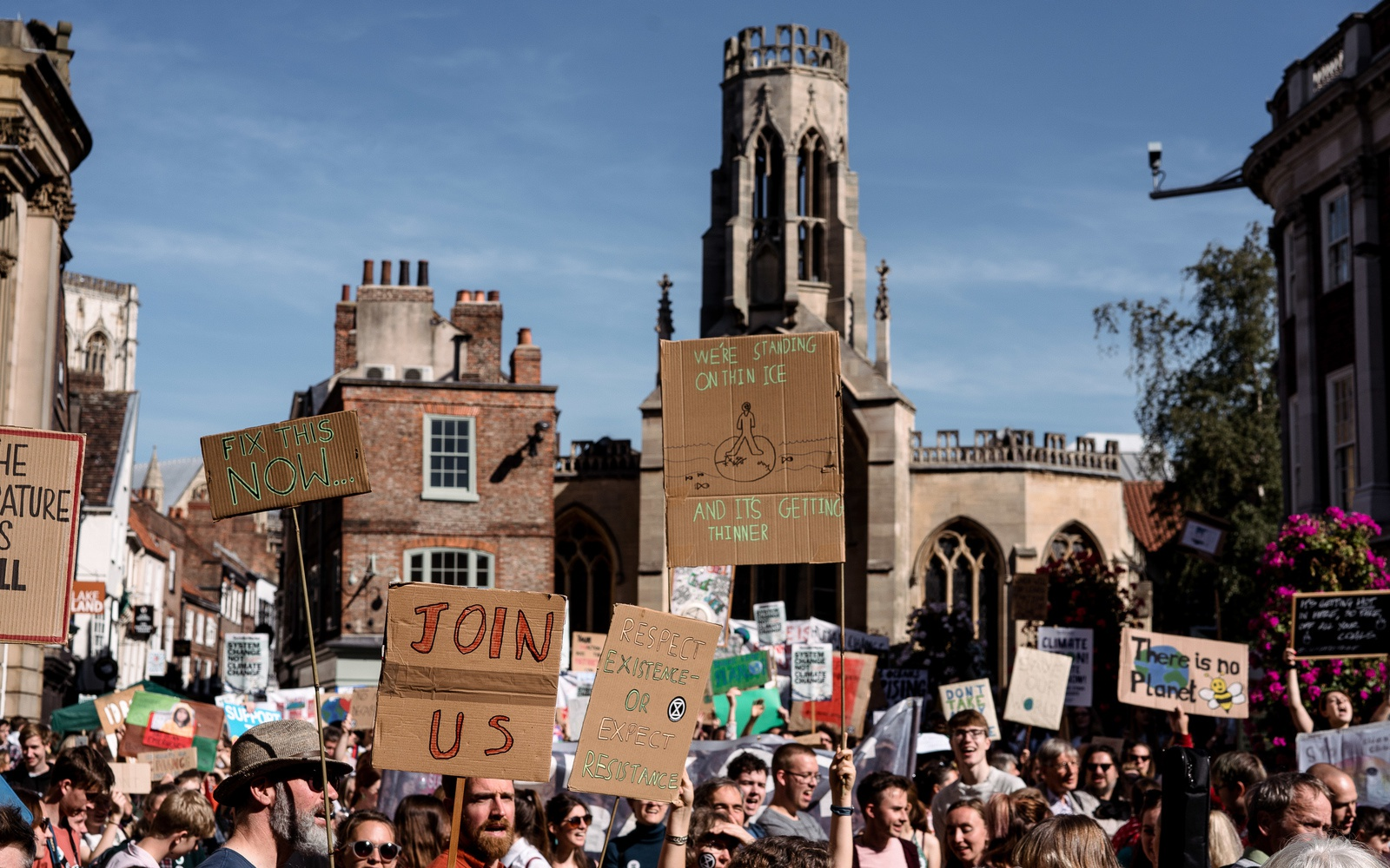 Students on climate strike in York city centre