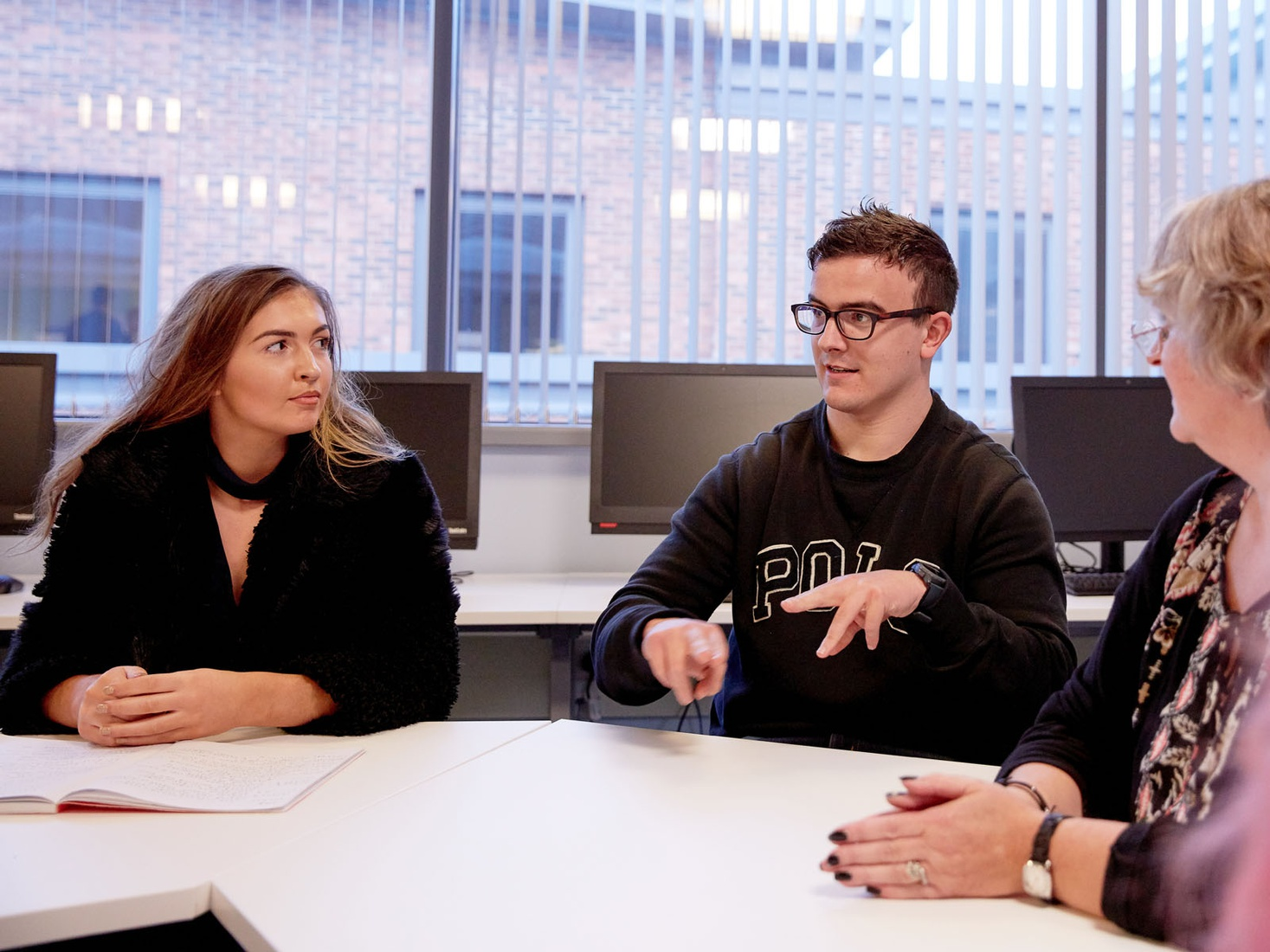 Student using sign language