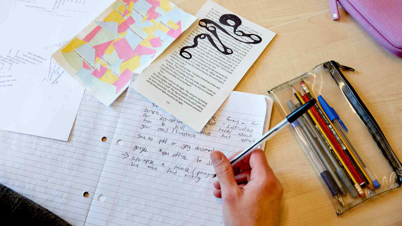 Creative writing activities being used as a prompt for writing