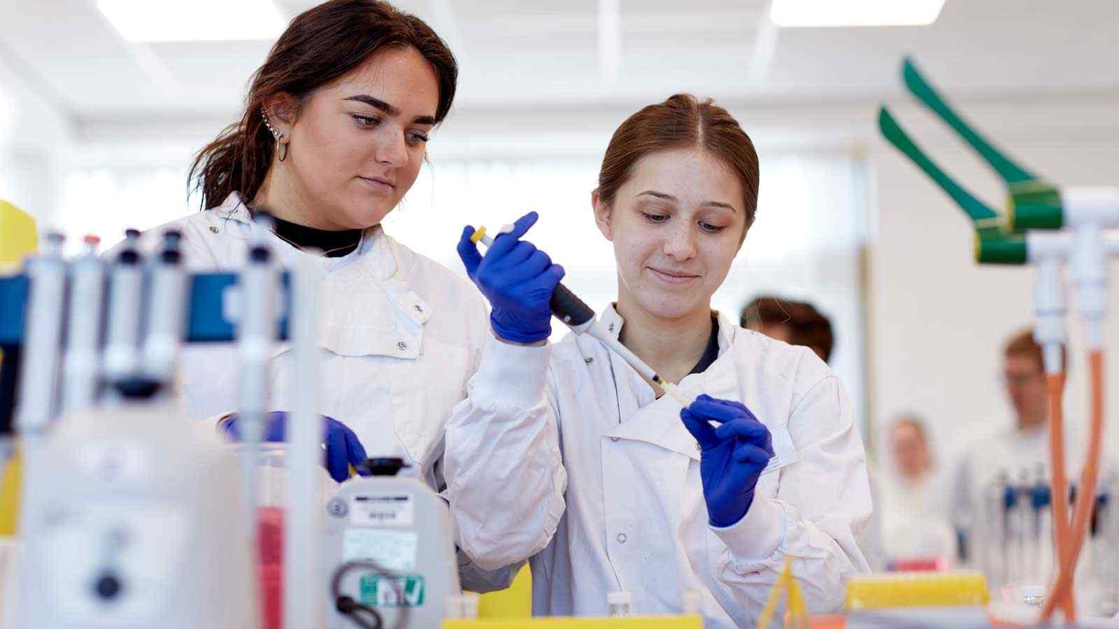 Biosciences students using laboratory equipment