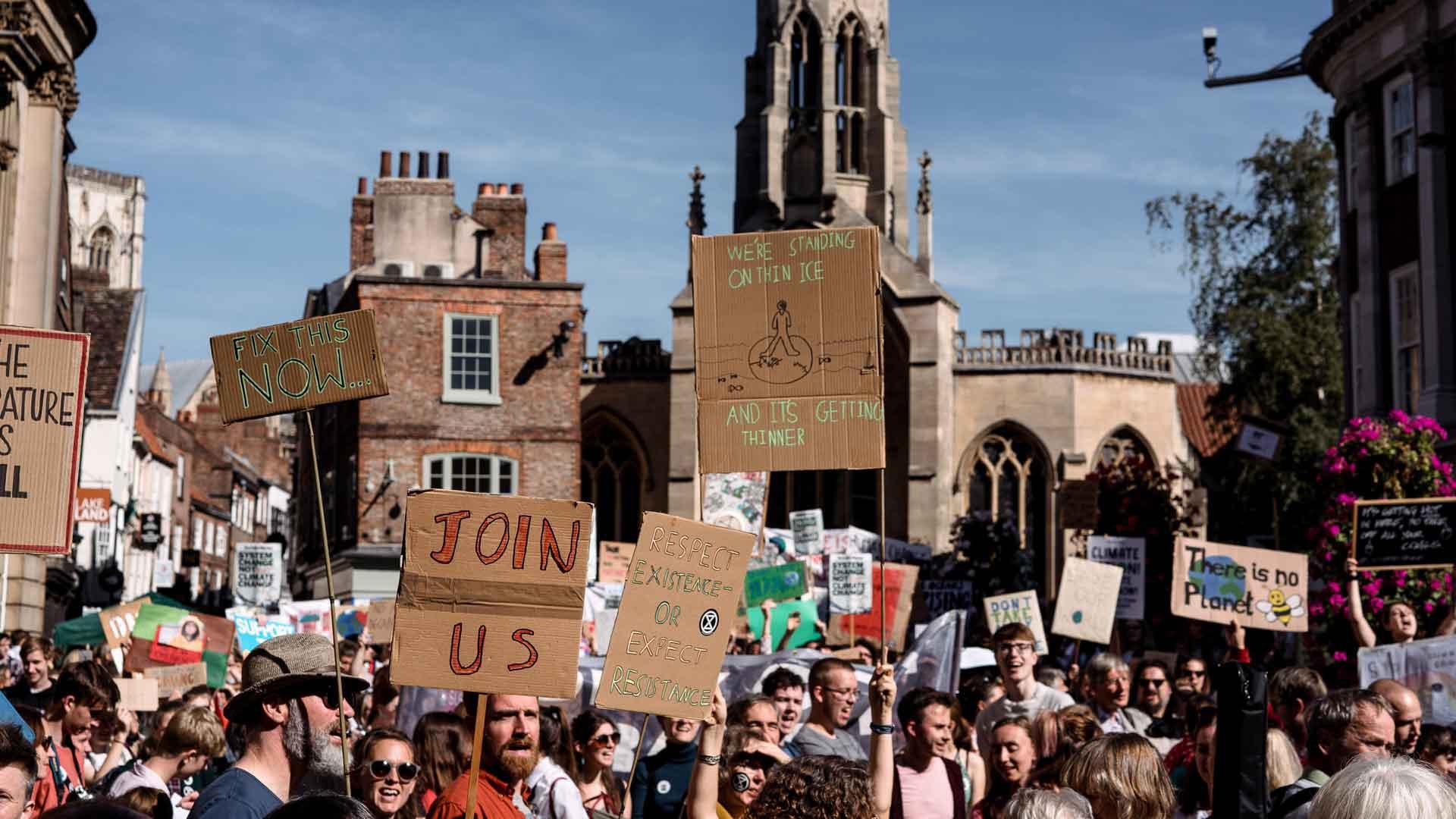 York St John University students on climate strike in city centre