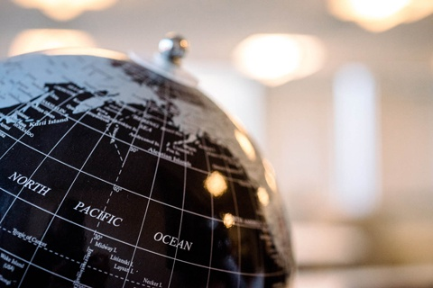 Top half of globe showing North Pacific Ocean