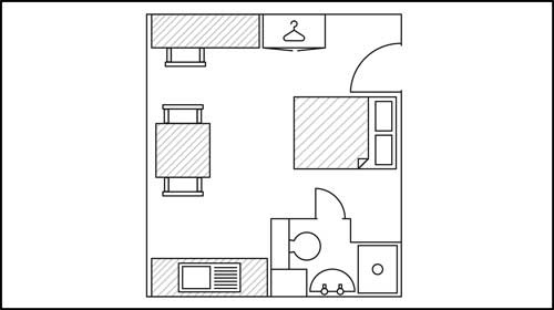 Layout plan for a studio room in St John Central