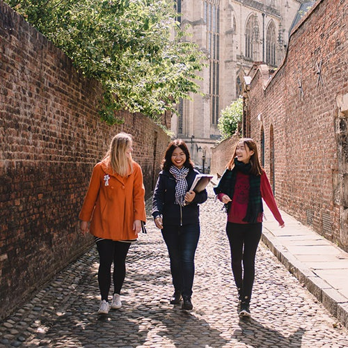 Students walking through York