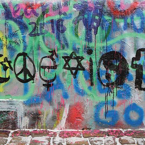 Religious symbols on a background of graffiti