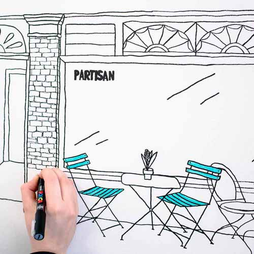 Student drawing illustration